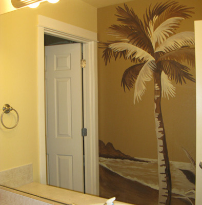 Sepia Murals Palm Tree Mural in Bathroom Bellevue tropical designs murals trees art artist Seattle