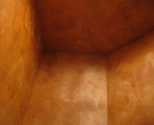 venetian plaster italian plasters Distressed Italian Plaster Powder Room Olympia orange rust