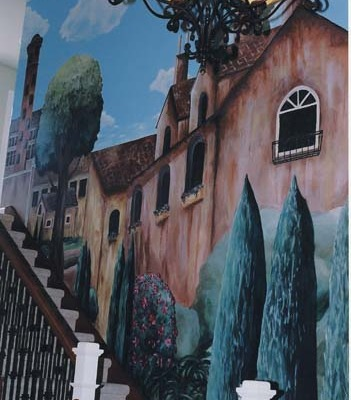 Italian Village Mural with Cypress Trees Entryway Sammamish Interior designers ideas houzz villa cypress trees muralist Bellevue