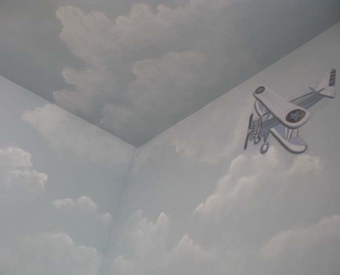 cloud ceiling murals Clouds on Ceiling and Walls Baby's Room Bellevue baby's room with plane Tacoma