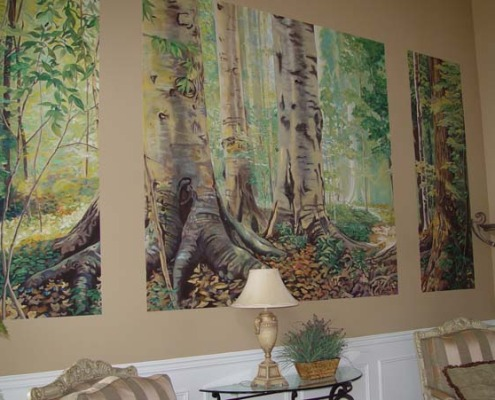 murals trompe l'oeil doorways and views Northwest Forest Mural Formal Living Room Bellevue trees Interior design muralist Seattle woods Tacoma