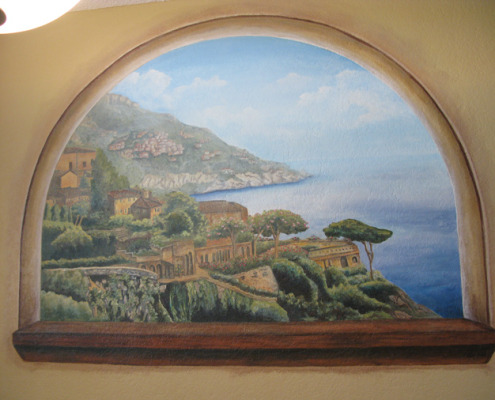 murals trompe l'oeil doorways and views Sorrento by the Sea Mural Dining Room Tacoma landscape seaside water Italian muralist Bellevue