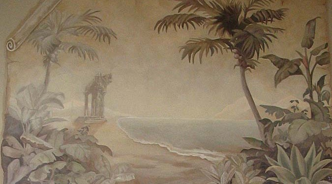 Sepia Murals Palm Trees and Beach Tropical Parchment Mural Bellevue tropical mural artist sepia mural Seattle