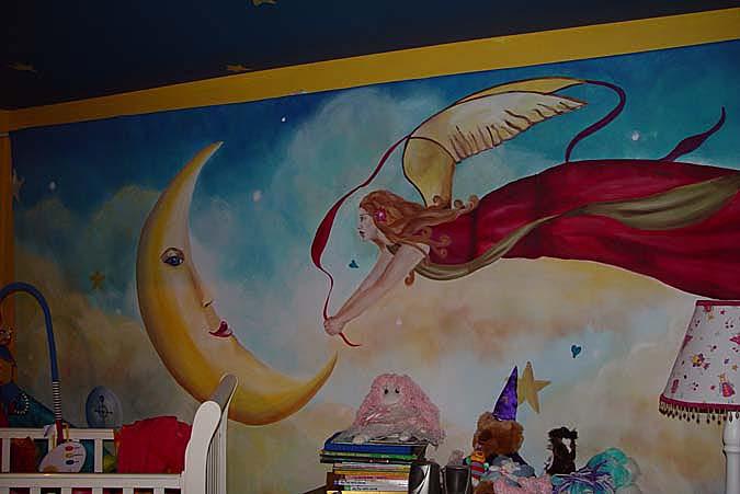 children's rooms Fantasy Fairy and Moon Girls Room Mural Seattle Harlequin fairy angel moon dream baby ideas clouds interior designer Bellvue