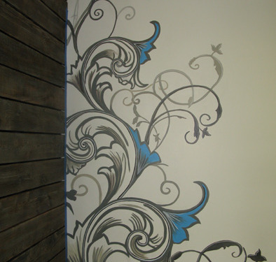 Contemporary Scroll Design in Clocktower Media Kirkland Seattle wall designs houzz