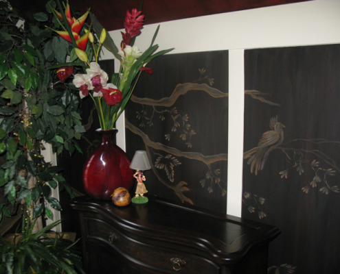 Sepia Murals Asian Tree Mural in Bedroom Redmond mural artist classic tree mural dresser mural painter Tacoma