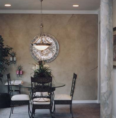 Architectural Faux Finish Dining Room Kirkland faux marble column wrought iron table set decorative paint redmond tacoma