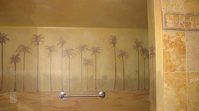 Architectural Palm Tree Mural in Bonus Room Seattle Kirkland Palm trees mural art artist