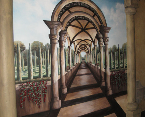 Seattle Mural Dimensional Garden Pathway With Cypress Tress Side View Roman Casino Seattle design ideas columns mural painter restaurant murals Issaquah Tacoma