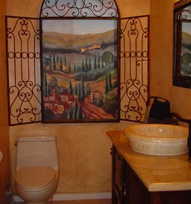 Tuscan Hillside Mural in Powder Room Redmond decorator ideas muralist Bellevue