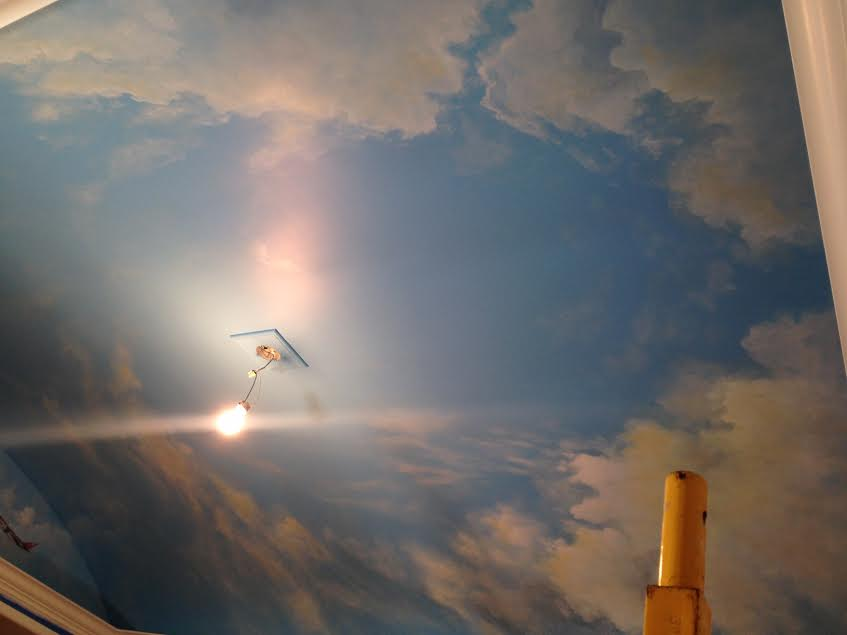 Cloud ceiling murals and painted phrases paradise for Ceiling sky mural
