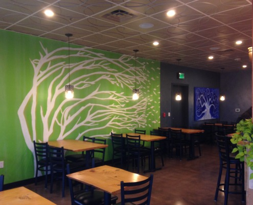 GARDEN TO GOURMET RESTAURANT YELM TREE MURAL AND METALLIC PLASTER