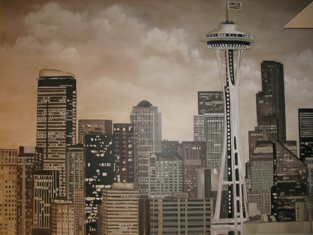 Sepia Seattle Skyline Mural