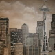 Sepia Seattle Skyline Mural