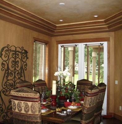 Architectural Faux Finish Gig Harbor formal dining Interior design Dining chairs wrought iron inset ceiling