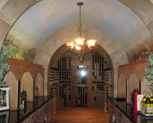 wine cellar murals Vineyard Wine Cellar Mural Mercer Island wine bottles chandelier archways