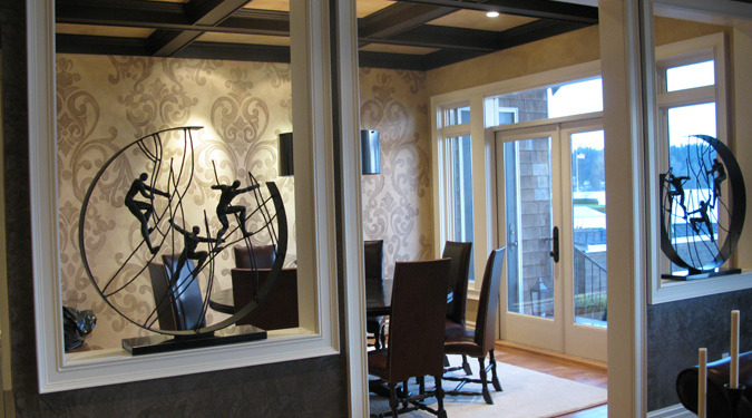 Acanthus Scroll Damask Design in Dining Room Redmond Kirkland faux finish ideas decorating drum chandelier dining table wall designs
