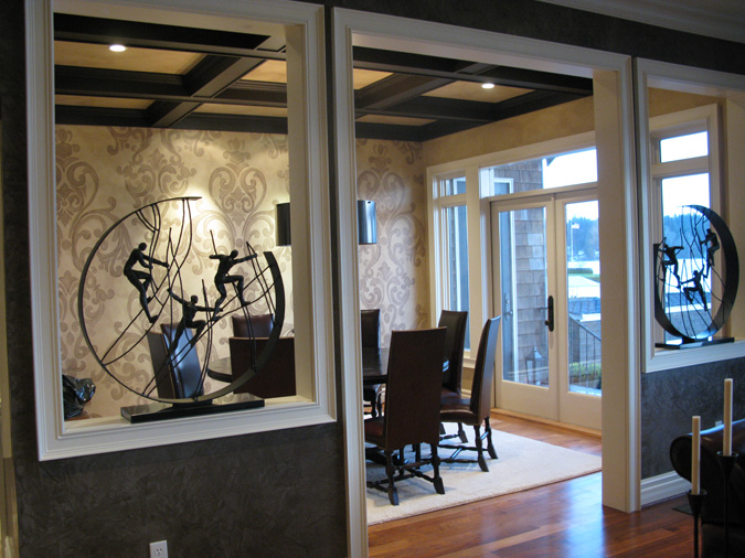 Acanthus Scroll Damask Design in Dining Room Redmond interior design houzz Kirkland Seattle Bellevue Tacoma ideas decorating damask scroll wall designs