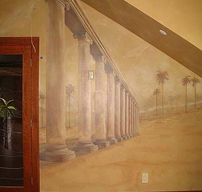 Sepia Murals Architectural Palm Tree Mural in Bonus Room Seattle Columns wood doors palm trees muralist