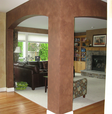 Architectural Faux Finish Family Room Mercer Island dark brown sofa fireplace bellevue