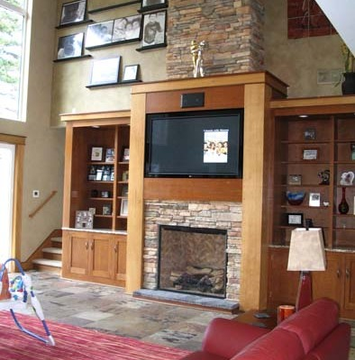 Architectural Faux Finish Great Room Olympia home decor stone fireplace vaulted living room decorative paint Seattle bellevue house painters