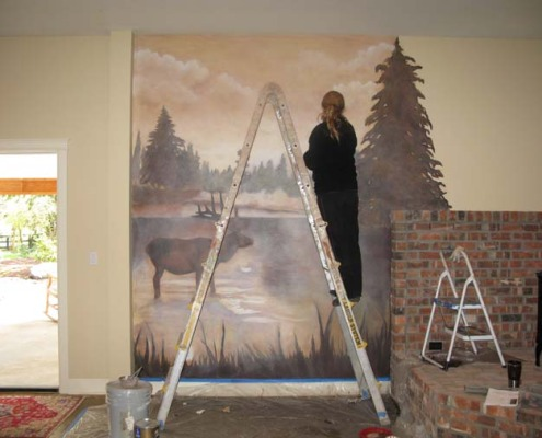 Sepia Murals Northwest Elk Mural Woodinville fog lake evergreen trees Olympia forest Seattle