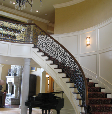 venetian plaster italian plasters French Chateau Plaster Entryway Bellevue iron stairwell interior design Seattle