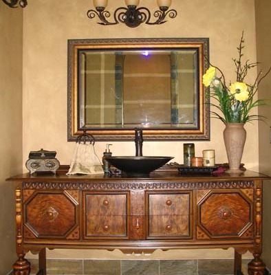 Architectural Faux Finish Master Bathroom Interior design ideas seattle bellevue decorators pedestal sink with vanity chandelier puyallup