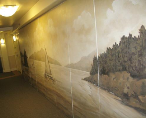 Sepia Murals Cannon Beach Sepai Mural Seattle whales ocean art northwest landscape mural artist