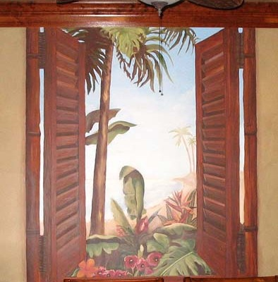 Tropical Island Palm Tree MuralFormal Dining Kirkland muralist shutters palm trees Seattle Tacoma