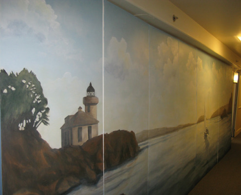 murals trompe l'oeil doorways and views San Juan Islands Light House Mural Seattle seaside landscape ideas muralist Kirkland