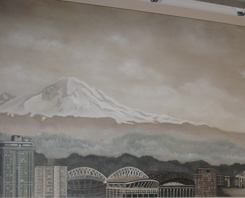 Sepia Murals Seattle Skyline Mural in Commerical Office Seattle mount Rainier Safeco Field Seahawks Stadium mural art design Kirkland
