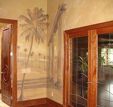 Sepia Murals Architectural Palm Tree Mural in Bonus Room Seattle Kirkland Bellevue