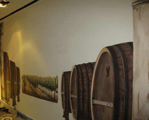 Wine Barrel and Vineyard Mural at the Venetian Hotel Las Vegas murals trompe l'oeil doorways and views