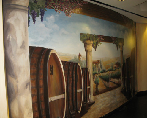 wine cellar murals Italian Vineyard Mural The Venetian Palazzo Las Vegas
