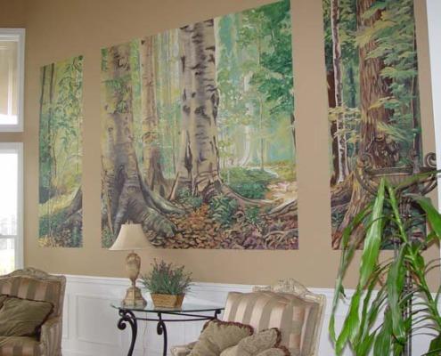 murals trompe l'oeil doorways and views Northwest Forest Mural Formal Living Room Bellevue trees woods decorators mural artist striped chairs lamp Seattle