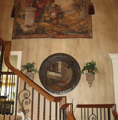 Architectural Faux Finish Entry Kirkland tapestry wall hanging iron railing seattle bellevue old world
