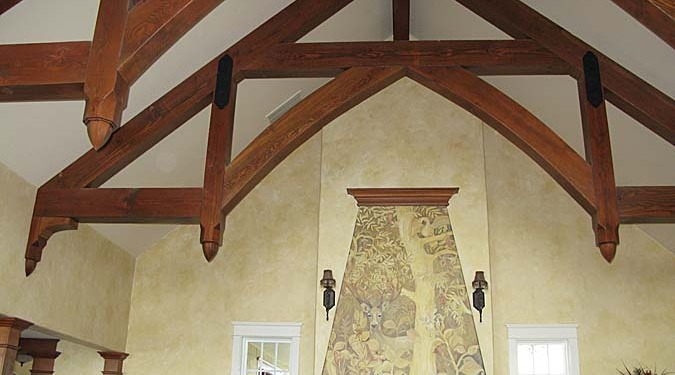 Sepia Murals Gothic English Forest Mural Living Room Olympia gothic wood beams scones faux finish mural artist tree