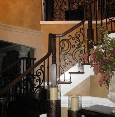 Architectural Faux Finish Entry Kirkland Interior design ideas wrought iron railing candle holders houzz