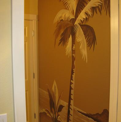 Sepia Murals Palm Tree Mural in Bathroom Bellevue Maple Valley Bathroom design ideas