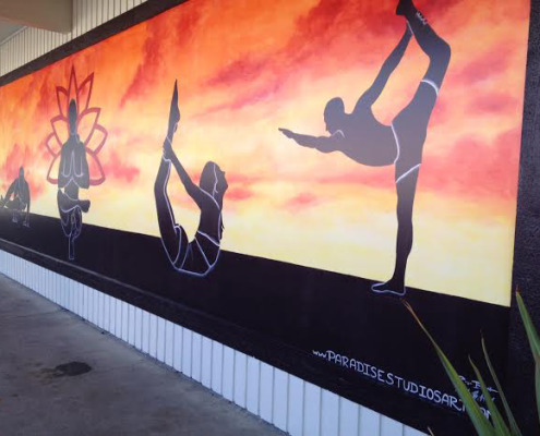 murals trompe l' oeil doorways and views Graphic Silhouette Hot Yoga Mural At The Ashram Studio in Kirkland ideas muralist commercial murals Bellevue