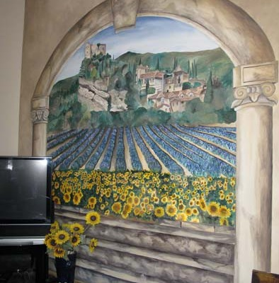 French Countryside Mural with Lavender and Sunflowers Medina muralist ideas Seattle murals trompe l'oeil doorways and views