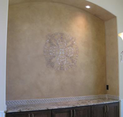Raised Plaster Scroll Designs in Dining Room Mercer Island Kirkland ideas decorating wall art l designs