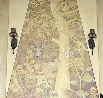 Sepia Murals Gothic English Forest Mural Living Room Olympia Seattle Woodinville tree mural deer scones muralist artist