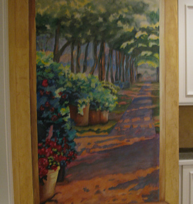 murals trompe l'oeil doorways and views Flower and Garden Pathway Mural Living Room Puyallup Interior designer muralist Bellevue