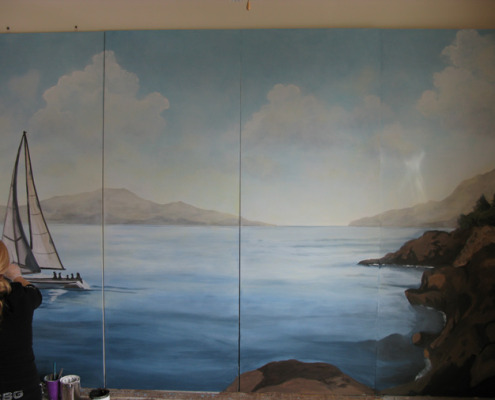 murals trompe l'oeil doorways and views View From the San Juan Islands Mural Seattle mural artist Bellevue Tacoma