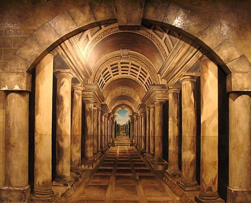 Seattle Mural Dimensional Hallway Trompe L'oeil Mural Roman Casino Seattle Interior design ideas houzz muralist restaurant murals Redmond Bellevue murals trompe l'oeil doorways and views