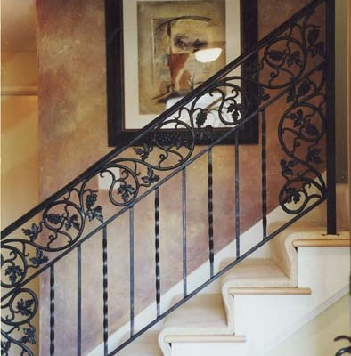 Architectural Faux Finish Entry Seattle interior design ideas bellevue tacoma wrought iron railing stairwell