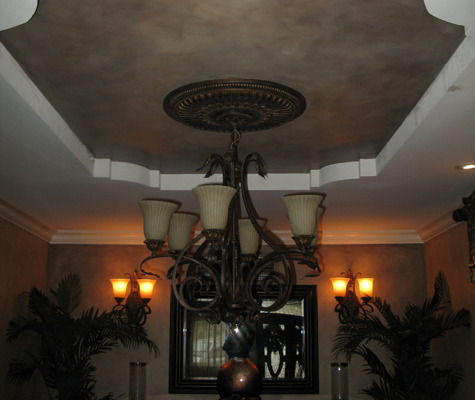 Architectural Faux Finish Formal Dining Ceiling Olympia decorative paint chandelier