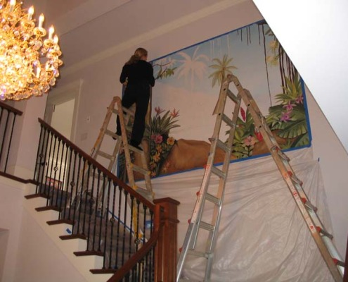 Hawaiian Tropical Mural in Entry Bellevue Interior decorator ideas flowers trees muralist Bellevue Shoreline murals trompe l'oeil doorways and views